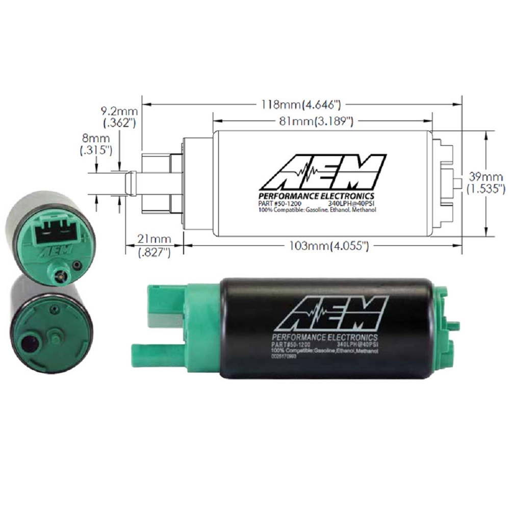 aem high flow e85 320lph in n 50