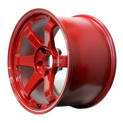 Volk Racing TE37 RT Wheel in Burning Red with Diamond-Cut rim - Side View