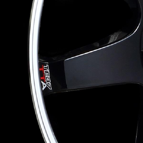 Volk Racing TE37 Tokyo Time Attack Wheel in Double Black with Diamond-Cut rim - Rim Logo close-up