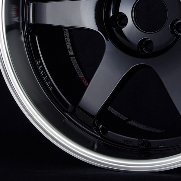 Volk Racing TE37 Tokyo Time Attack Wheel in Double Black with Diamond-Cut rim - Rim and Center close-up