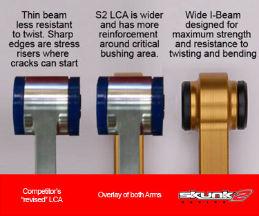 COMPARISON OF A SKUNK2 RACING LOWER CONTROL ARM COMPARED TO A COMPETITOR'S